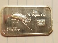 THE WATERGATE BUG 1 OUNCE SILVER BAR ART BAR COLONIAL MINT .999 FINE