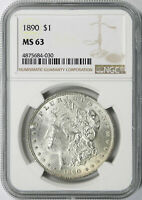 1890 $1 MORGAN DOLLAR NGC MINT STATE 63