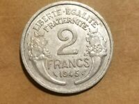 1945 FREE FRANCE 2 FRANCS FRENCH ALLIED COIN WORLD WAR TWO WW2 WWII WW 2 RELIC
