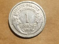 1945 B FREE FRANCE 1 FRANC FRENCH ALLIED COIN WORLD WAR TWO WW2 WWII WW 2 RELIC