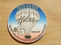 RENO HILTON $5 CASINO POKER CHIP EARTHWINDS NEVADA NV HOT AIR BALLOON