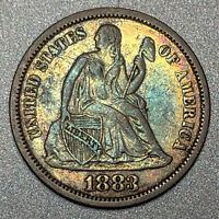 1883 SEATED LIBERTY DIME 10C - ABOUT UNCIRCULATED AU CONDITION - COLORFUL TONING