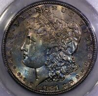 1881 S MORGAN SILVER DOLLAR UNIQUE VIBRANT TONING ANACS GRADED