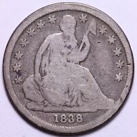 1838 SEATED LIBERTY DIME -  EXAMPLE OF EARLY DATE IN THE SERIES       R1UM