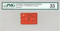 COLOMBIA TREASURY DEPARTMENT DE PANAMA FRENCH CANAL ADMINISTRATION 5 C 1889 PMG
