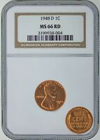 1948 D LINCOLN CENT - NGC CERTIFIED RD-66