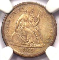 1865-S SEATED LIBERTY DIME 10C - NGC EXTRA FINE  DETAILS EF -  CIVIL WAR DATE COIN