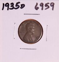1935 D LINCOLN WHEAT CENT 6959, EXTRA FINE-NATURAL PATINA-SHIPS FREE