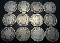 12 DIFFERENT DATE R SET 1899-1916 S BARBER/LIBERTY SILVER 10C DIME COIN LOT