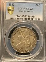 1832 CAPPED BUST SILVER HALF DOLLAR SMALL LETTERS PCGS MINT STATE 62  TONING