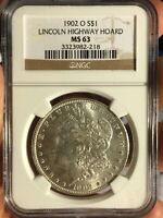 1902-O MINT STATE 63 MORGAN LANCASTER PA HOARD RT30 LINCOLN HWY   COIN  HOLDER