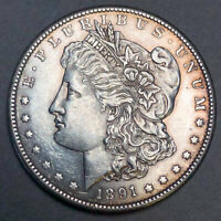 1891-S MORGAN DOLLAR $1 - MINT STATE MS DETAILS CLEANED
