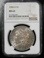 1904-O MORGAN SILVER DOLLAR - NGC MINT STATE 63 UNIQUELY TONED OBVERSE