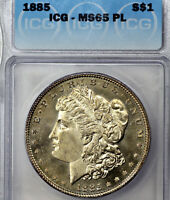 1885-P MINT STATE 65 PL MORGAN SILVER DOLLAR $1, ICG GRADED PROOFLIKE, GOLDEN COLOR