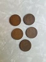 WHEAT PENNIES LOT OF 5 1919 1928 1939 1944 1952 STARTER COIN COLLECTION
