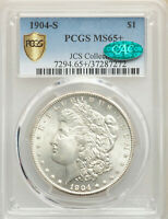 1904-S $1 MORGAN SILVER DOLLAR PCGS MINT STATE 65 CAC GOLD SHIELD SECURE JCS COLLECTION