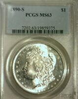 1890 S  SILVER MORGAN DOLLAR  PCGS MINT STATE 63  GREAT LOOKING COIN  375