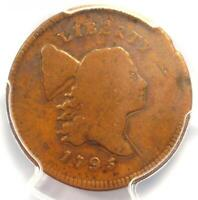 1795 LIBERTY CAP FLOWING HAIR HALF CENT COIN 1/2C PE - PCGS VG8 - $975 VALUE