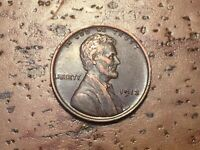 AU 1913 LINCOLN WHEAT CENT, BOLD DATE AND FULL WHEAT LINES E21