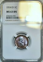 NGC MINT STATE 63 BN 1914-D LINCOLN CENT BEAUTIFULLY TONED NEAR RB SPECIMEN