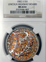 1882-S MINT STATE 63 STAR MORGAN SILVER DOLLAR $1, NGC GRADED, FIERY TONED