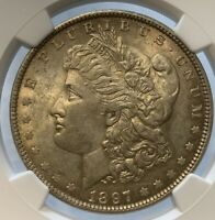1897 MINT STATE 61 PITTED REVERSE MORGAN SILVER DOLLAR NGC GRADED MS CERTIFIED