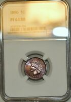 NGC PF 64 RB 1896 INDIAN HEAD CENT  VIBRANTLY TONED AND DEEP