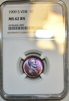 NGC MS 62 BN 1909 S VDB LINCOLN CENT  GORGEOUS VIBRANTLY TON