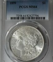 1899-P MORGAN SILVER DOLLAR..PCGS MINT STATE 64..BLAST WHITE,BRILLIANT, MUCH BETTER DATE