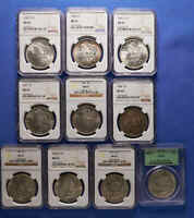 10 DIFERENT DATE MORGAN SILVER DOLLAR NGC  MINT STATE 62 1883 TO 1900-O
