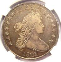 1801 DRAPED BUST SILVER DOLLAR $1 BB-213 - CERTIFIED NGC VF DETAILS -  COIN