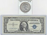 1927-P PEACE SILVER $1 & 1957 SILVER CERTIFICATE NOTE LOT OF 1 EACH