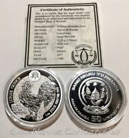 2017 PROOF RWANDA LUNAR ROOSTER 1OZ SILVER 999 COIN   ONLY