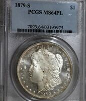 1879-S MORGAN SILVER DOLLAR..PCGS MINT STATE 64 PL..BLAST WHITE, CAMEO PROOF LIKE