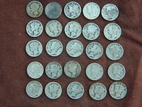 HALF ROLL LOT OLD 25 MERCURY DIMES   JUNK 90  SILVER COLLECT