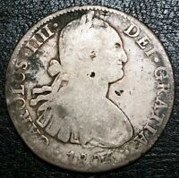 1805 MEXICO MO TH 8 REALE COLONIAL 8R DOLLAR $1 CHOPMARKED .