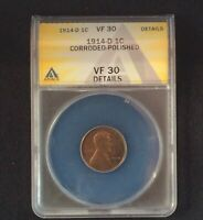 1914-D LINCOLN CENT ANACS VF-30 DETAILS -  LOOKING EXAMPLE