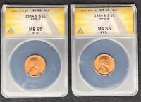 1954-S/S RPM-2 AND RPM-4  TWO-COIN RPM SET  BOTH CERTIFIED MINT STATE 65 RED