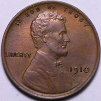 AU 1910 LINCOLN WHEAT CENT PENNY              J5SM