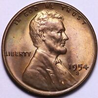 BU 1954-S LINCOLN WHEAT CENT PENNY -  COLOR