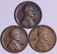 1912-D 1921-S 1931 LINCOLN WHEAT CENT PENNY - 3 COINS    J7UF