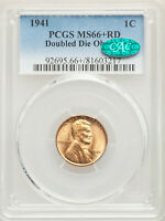 1941 1C LINCOLN WHEAT CENT DOUBLE DIE OBVERSE PCGS MINT STATE 66 RD CAC