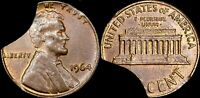 1964 CENT UNC BROWN   ERROR   15  INCOMPLETE PLANCHET    THREE CURVED CLIPS