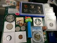 JUNK DRAWER LOT   SILVER PROOFS PCGS STAMPS BUFFALO 5C WORLD