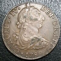 1789 MO FM SILVER 8 REALE MEXICO COLONIAL MILLED BUST LARGE U.S SILVER $1 DOLLAR