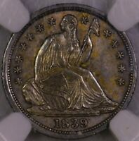 1839 SEATED LIBERTY HALF DIME NICELY TONED NGC MS 62