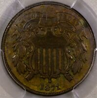 1871 TWO CENT PIECE PCGS XF 40 NICE COLOR