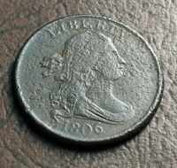 1806 DRAPED BUST HALF CENT, SMALL 6, NO STEMS