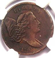 1794 LIBERTY CAP FLOWING HAIR HALF CENT 1/2C - NGC EXTRA FINE  DETAIL EF -  COIN