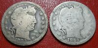 LOT 2 EARLY BETTER DATE BARBER QUARTER DOLLAR COINS 1892 189